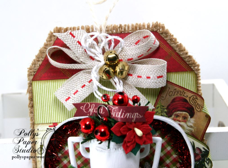 Glad Tidings Trophy Shadow Box Tag Christmas Home Decor Polly's Paper Studio 05