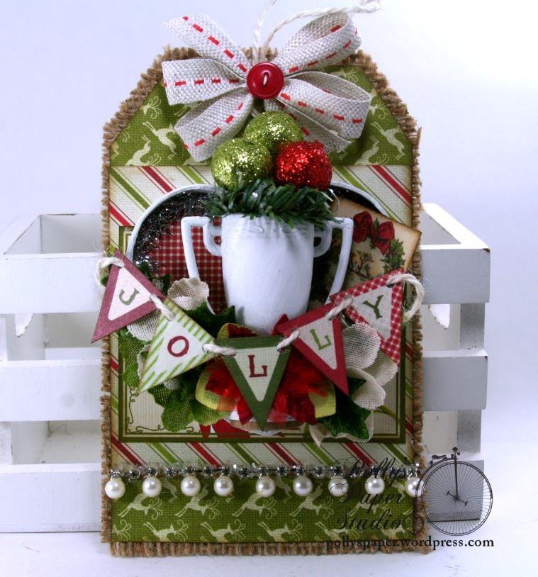 Jolly Trophy Shadow Box Christmas Tag Holiday Home Decor Polly's Paper Studio 01