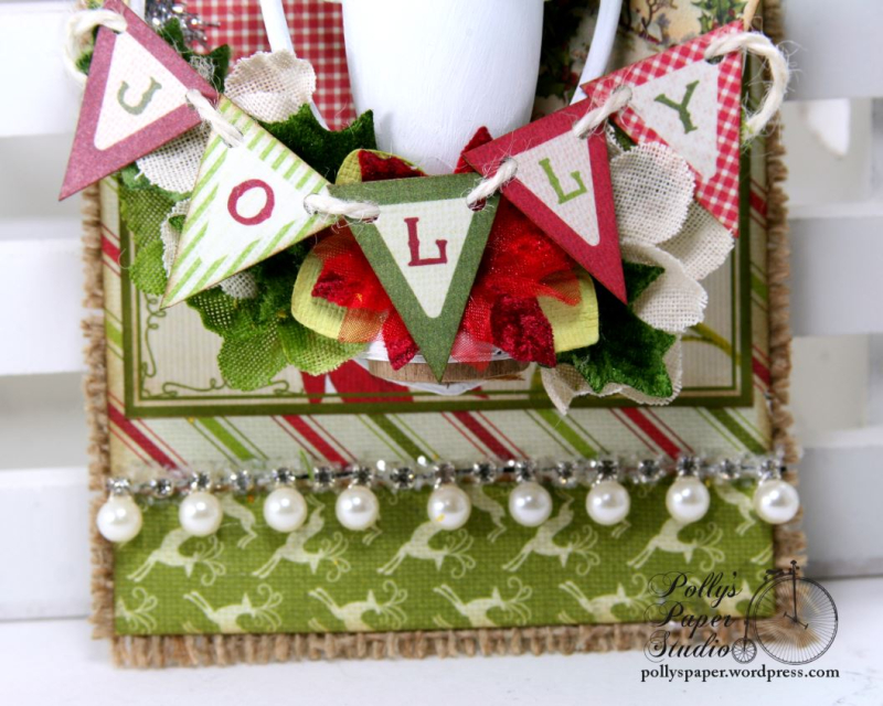 Jolly Trophy Shadow Box Christmas Tag Holiday Home Decor Polly's Paper Studio 05