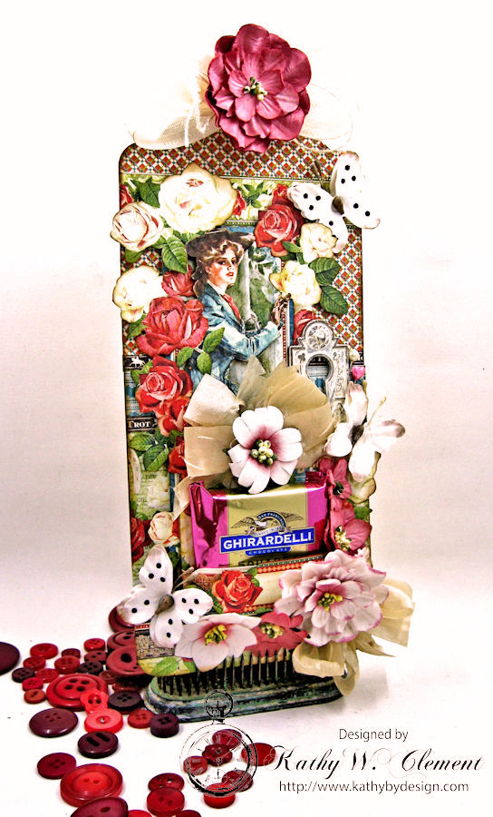Off to the Races Dimensional Valentine Tag, Off to the Races, by Kathy Clement for Petaloo International, Product by Graphic 45, Photo 1