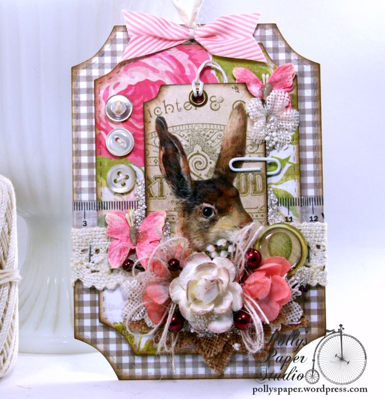 Easter Bunny Ticket Holiday Home Decor Tag Polly's Paper Studio 01