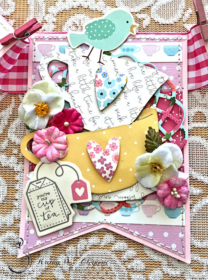 Pebbles Tea Party Banner by Kathy Clement for Petaloo International Photo 2