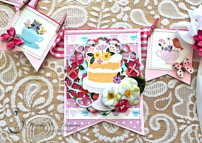 Pebbles Tea Party Banner by Kathy Clement for Petaloo International Photo 7