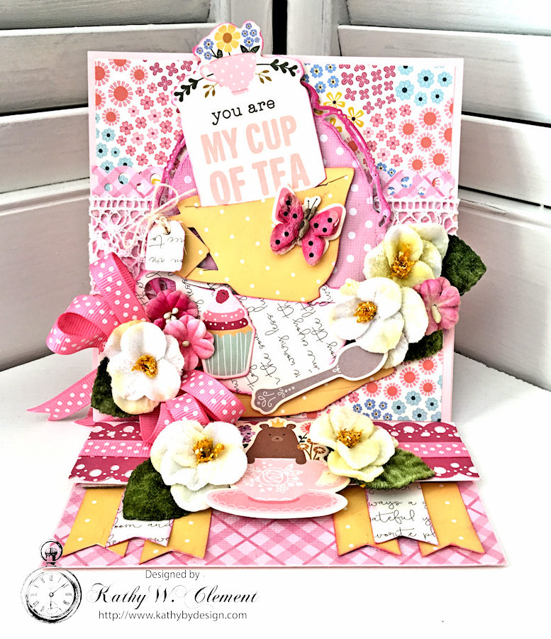 Pebbles You Are My Cup of Tea Easel Card by Kathy Clement for Petaloo International Photo 2 jpg