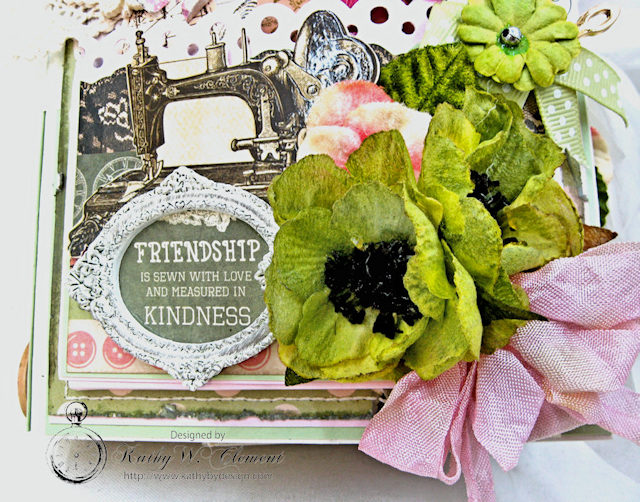 Vintage Style Sewing Themed Folio Mademoiselle by Kathy Clement Product by Kaisercraft and Petaloo Photo 4