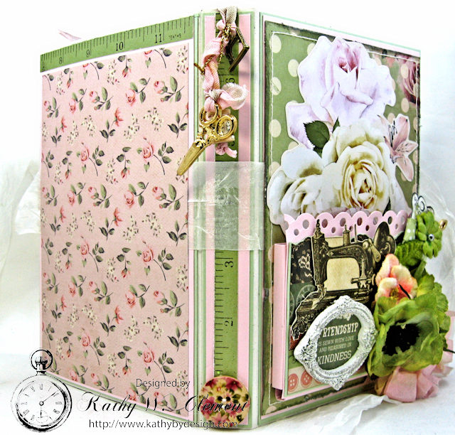 Vintage Style Sewing Themed Folio Mademoiselle by Kathy Clement Product by Kaisercraft and Petaloo Photo 7