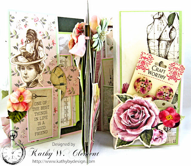 Vintage Style Sewing Themed Folio Mademoiselle by Kathy Clement Product by Kaisercraft and Petaloo Photo 8